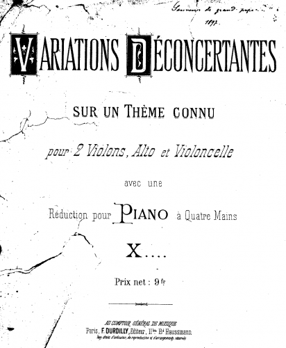 Anonymous - Variations Déconcertantes - For Piano 4 hands - Incomplete Score (last page only - the rest lost)