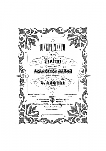 Austri - Divertimento for 2 Violins, Op. 7