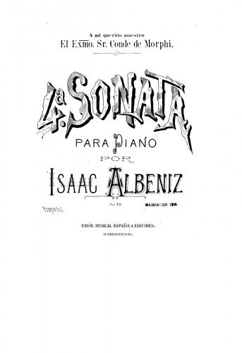 Albéniz - Piano Sonata No. 4 in A major, Op. 72 - Piano Score - Score