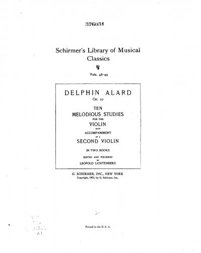 Alard - 10 Études melodiques et progressives - Vol. 1 (Nos.1-5)