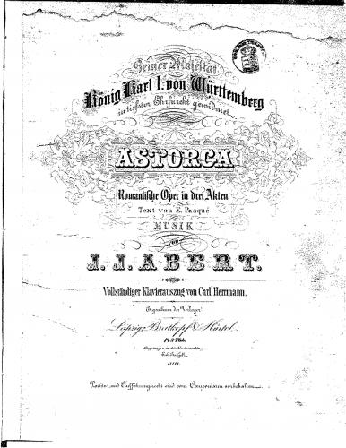 Abert - Astorga - Vocal Score German - Score