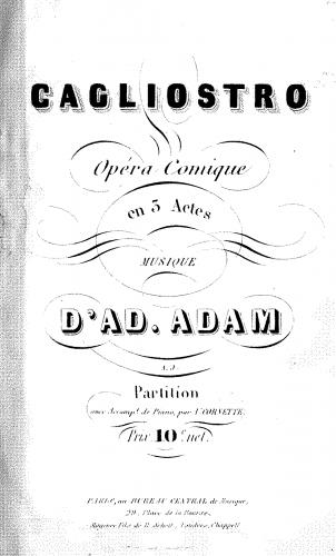 Adam - Cagliostro - Vocal Score - Score