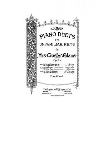 Adams - 3 Piano Duets in Unfamiliar Keys, Op. 20 - Score