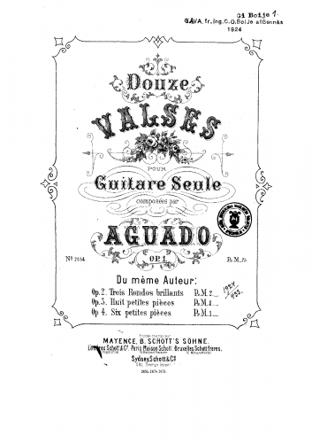Aguado - 12 Valses for Solo Guitar, Op. 1 - Score