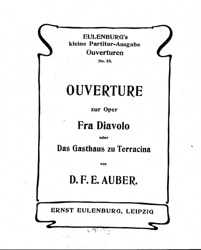 Auber - Fra Diavolo, ou L'hôtellerie de Terracine - Overture - Score