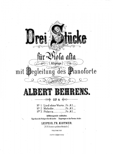 Behrens - 3 Stücke für Viola Alta - Piano Scores and Parts No. 2 Melodie - Piano score and Viola part