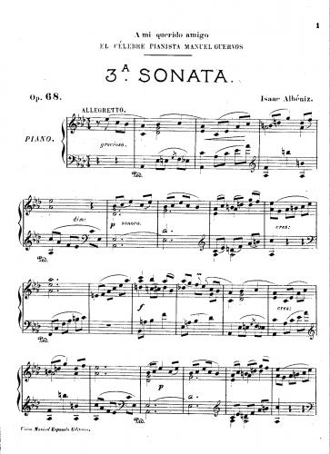 Albéniz - Piano Sonata No. 3 in A-flat, Op. 68 - Score