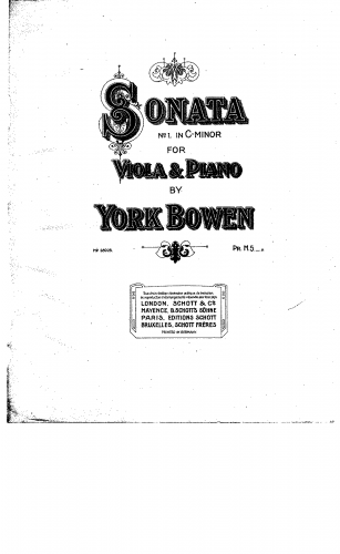Bowen - Viola Sonata No. 1 - Scores and Parts - Piano Score and Viola Part