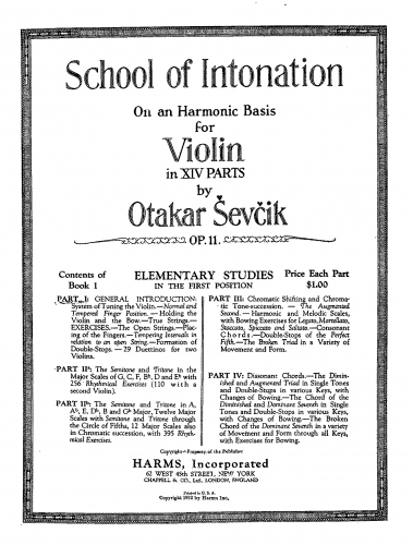 Ševčík - School of Intonation on an Harmonic Basis for Violin - Book I: Elementary Studies in the 1st position