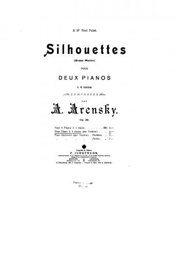 Arensky - Suite No. 2 - For Piano 4 hands (Arensky) - Score