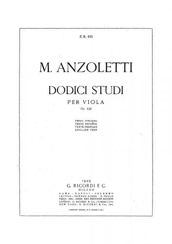 Anzoletti - 12 Studies, Op. 125 - Score