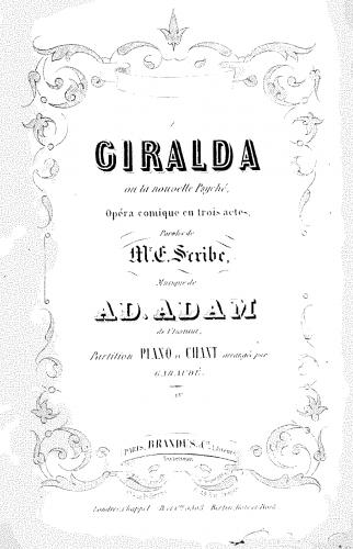 Adam - Giralda, ou La nouvelle Psyché - Vocal Score - Score