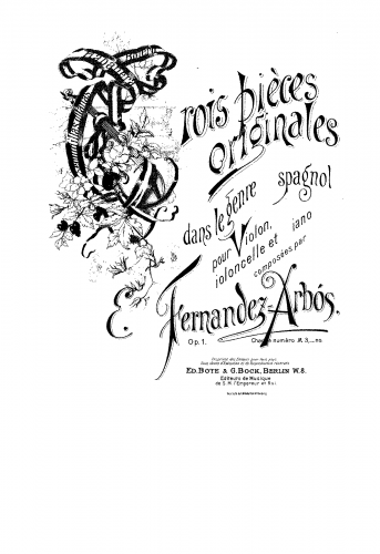 Arbós - Trois pièces originales - Scores and Parts Bolero (No. 1)