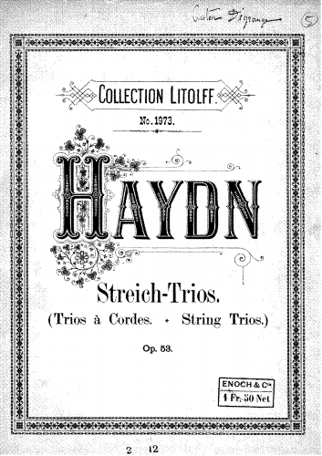 Haydn - 3 String Trios, Op. 53