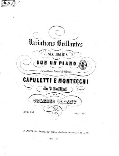 Czerny - Variations brillantes sur un thême de l'opéra 'I Capuleti e i Montecchi' - Score
