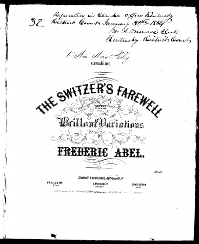 Abel - The Switzer's Farewell, with Brilliant Variations - Score