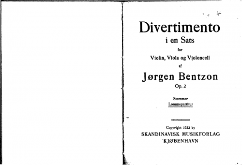 Bentzon - Divertimento - Scores and Parts - Score