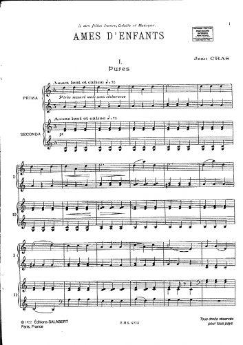 Cras - Ames d'enfants - For Piano 4 Hands - Score