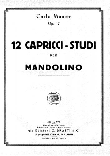 Munier - 12 Capricci studi per Mandolino, Op. 17 - Score