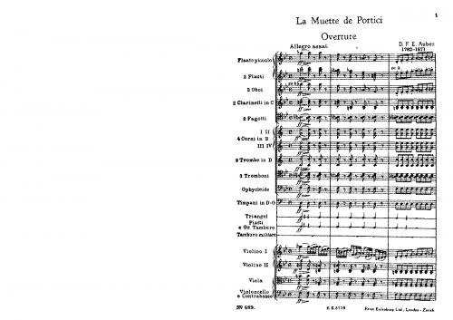 Auber - La muette de Portici / Masaniello - Overture - Score