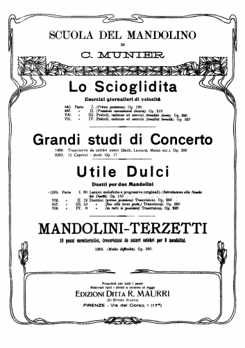 Munier - Utile Dulci, Parte Prima - Score