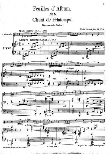 Sauret - Feuilles d'Album, Op. 28 - Violin and Piano Score