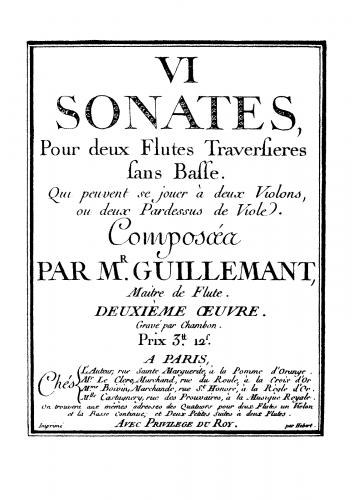 Guillemant - 6 Sonatas for Two Flutes - Score