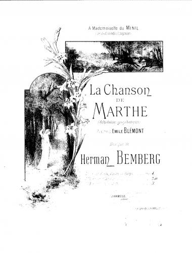 Bemberg - La chanson de Marthe - For Piano solo (Bemberg) - Score