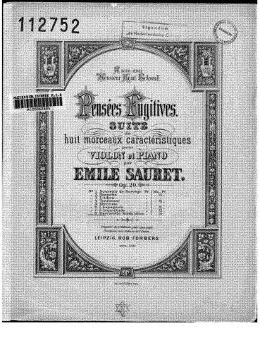 Sauret - Pensées fugitives - Piano Score and Violin Part