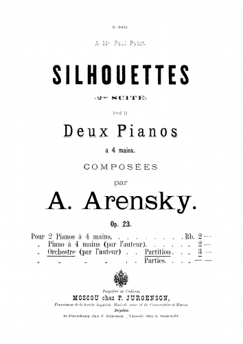 Arensky - Suite No. 2 - For Orchestra (Arensky) - Score