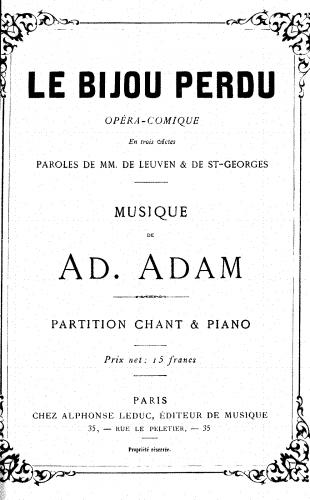 Adam - Le bijou perdu - Vocal Score - Score