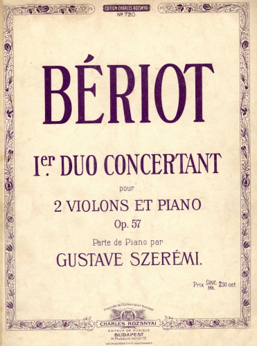 Bériot - 3 Concertant Duets - No. 1 in G minor For 2 Violins and Piano (Szerémi) - Piano score