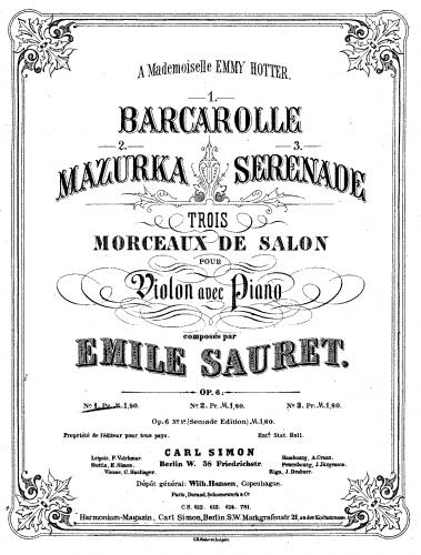 Sauret - 3 Morceaux de Salon - Piano Score