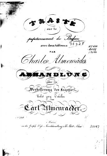 Almenräder - Traité sur le perfectionnement du basson avec deux tableaux - Complete Book