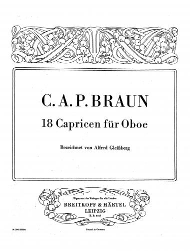 Braun - 18 Caprices for Oboe - Score