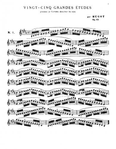 Bruyant - 25 Grandes Études de Hugot, Op. 13 - Score