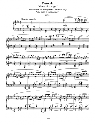 Dohnányi - Pastorale on a Hungarian Christmas song - Score