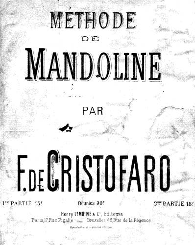 Cristofaro - Methode de Mandoline - Part 1 - complete score