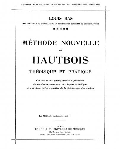 Bas - Méthode nouvelle de Hautbois - Complete Book