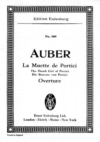 Auber - La muette de Portici / Masaniello - Overture - Complete Orchestral score