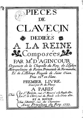 Agincour - Pièces de Clavecin - Harpsichord Scores - Score