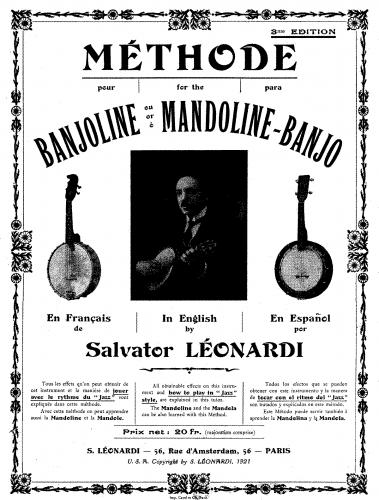 Leonardi - Methode pour Banjoline ou Mandoline-Banjo - Score