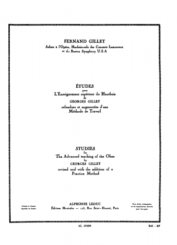 Gillet - Études pour l'enseignement supérieur du hautbois - Score