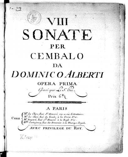 Alberti - 8 Sonatas for Cembalo - Score