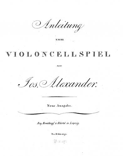 Alexander - Anleitung zum Violoncellspiel - Score