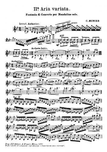 Munier - Fantasia di Concerto per Mandolino solo - Score
