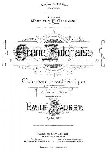 Sauret - Morceaux caractéristiques - Scores and Parts - 3. Scène polonaise
