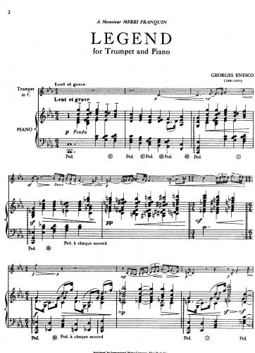 Enescu - Légende - Piano Score