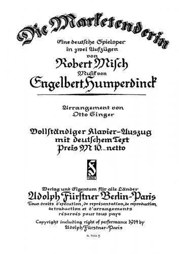 Humperdinck - Die Marketenderin - Vocal Score