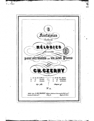 Czerny - 6 Fantaisies brillantes sur des mélodies favorites - Score